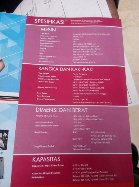 Spesifikasi All new beat 2016