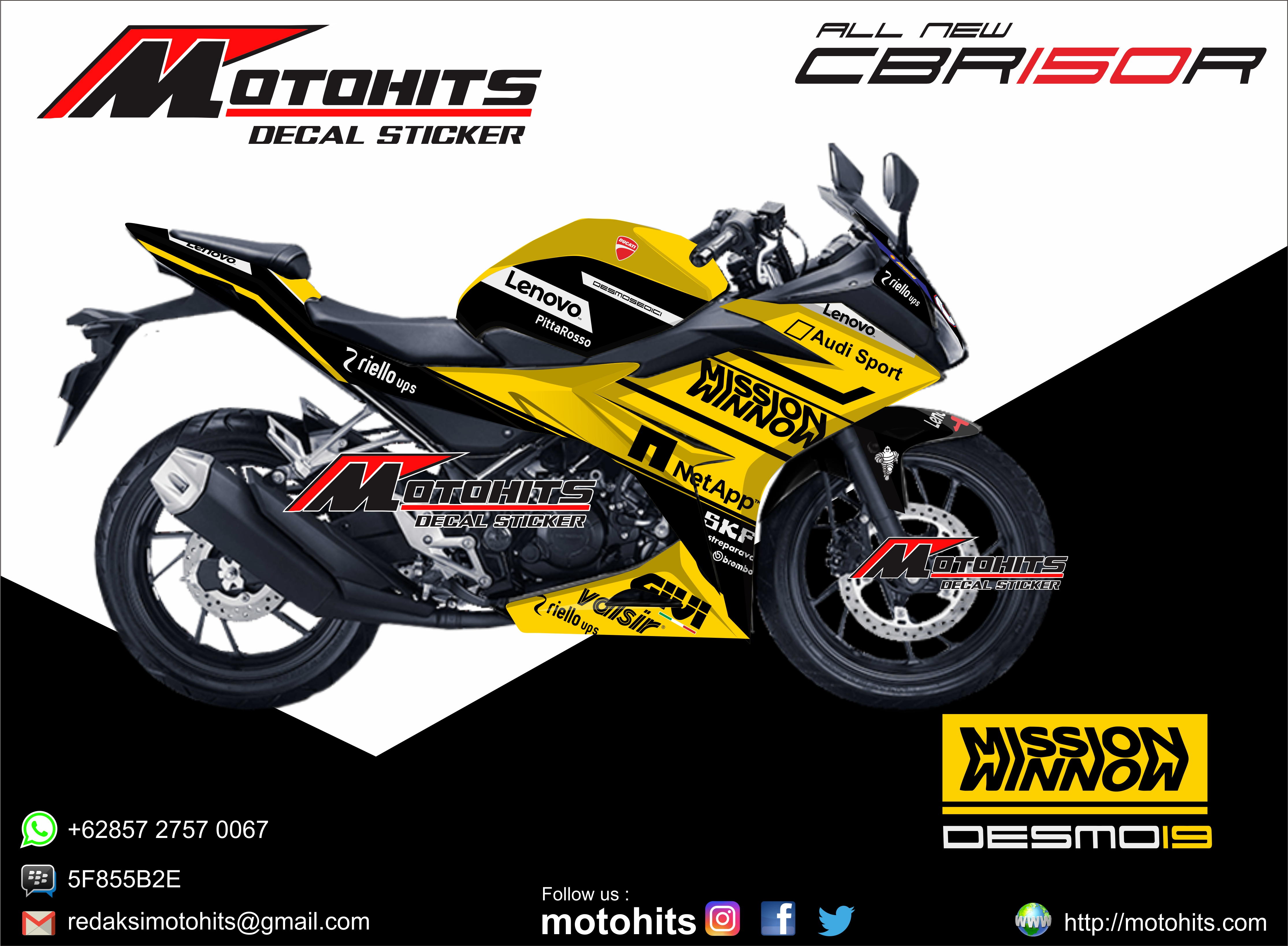 All new cbr150r ducati 2019 yellow hitam jpg